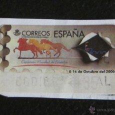 Sellos: ATM EXPOSICIÓN MUNDIAL DE FILATELIA 6-14 DE OCTUBRE DE 2000. 35 PTS. PEGADO. Lote 49042382