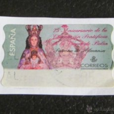 Sellos: ATM 75 ANIVERSARIO. VIRGEN DE BELÉN. PATRONA DE ALMANSA. 35 PTS. PEGADO. Lote 49042433