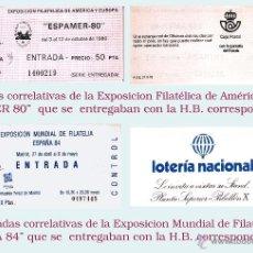 Sellos: LOTE COMPUESTO POR 46 ENTRADAS DE - ESPAMER 80 - Y 32 DE - ESPAÑA 84 - AMBAS CORRELATIVAS EN TACO. . Lote 49072177