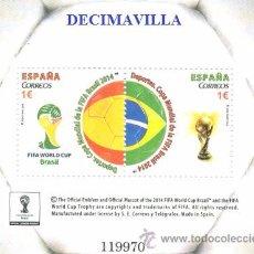 Sellos: ESPAÑA, SPAIN, AÑO 2014, EDIFIL 4890, H.B. DEPORTES, COPA MUNDIAL DE LA FIFA BRASIL 2014, CATAL. 4 €. Lote 49142761