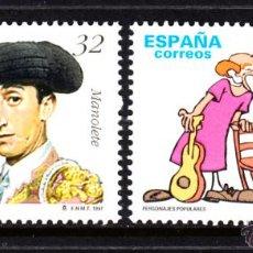 Sellos: ESPAÑA 3488/89** - AÑO 1997 - PERSONAJES - MANOLETE - CHARLIE RIVEL. Lote 49297821