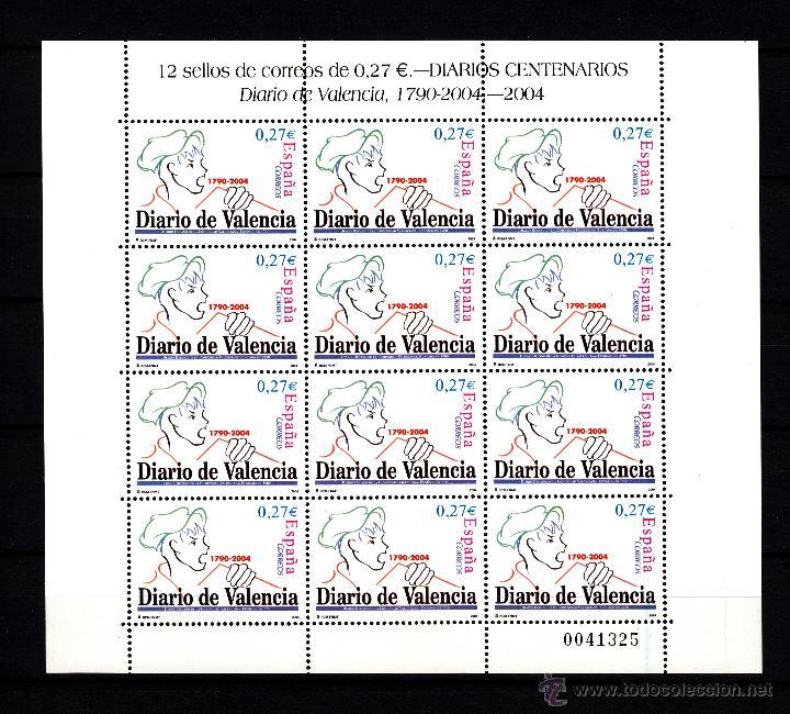 ESPAÑA 4094 MINIPLIEGO 85 SIN CHARNELA, VDAD LINEA AZUL EN 4 SELLOS DERECHA, PRENSA DIARIO VALENCIA+ (Sellos - España - Juan Carlos I - Desde 2.000 - Nuevos)