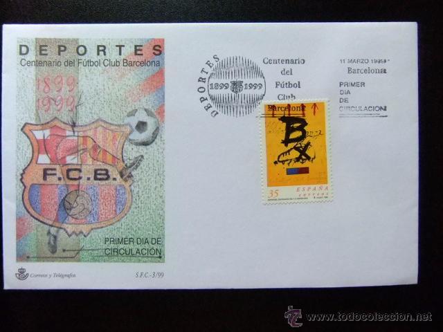 ESPAGNE - ESPAÑA - AÑO 1999 - CENTENAIRE DU F.C.BARCELONA - YVERT & TELLIER Nº 3183 FDC PRIMER DIA (Sellos - España - Juan Carlos I - Desde 1.986 a 1.999 - Cartas)