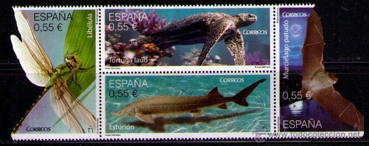 ESPAÑA 2015 - FAUNA - LIBELULA - TORTIGA - ESTURION - MURCIELAGO - EDIFIL Nº 4982-4985 (Sellos - España - Juan Carlos I - Desde 2.000 - Nuevos)