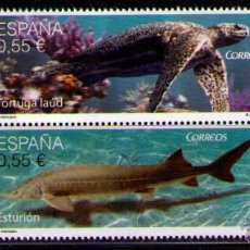Sellos: ESPAÑA 2015 - FAUNA - LIBELULA - TORTIGA - ESTURION - MURCIELAGO - EDIFIL Nº 4982-4985. Lote 174598805