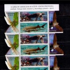 Sellos: ESPAÑA 2015 - LIBELULA - TORTUGA - ESTURION - MURCIELAGO - PLIEGO (4 SERIES) - EDIFIL Nº 4982-4985. Lote 50622729