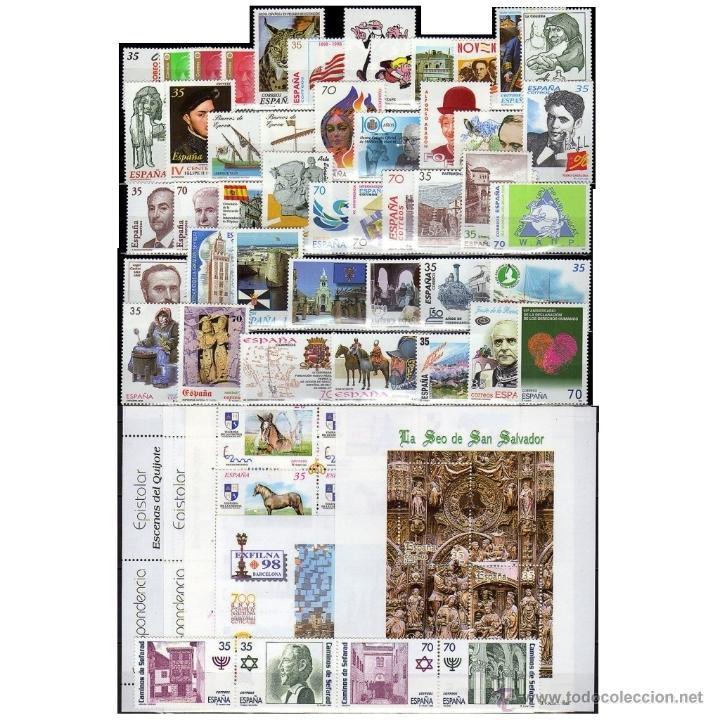 SELLOS NUEVOS ESPAÑA AÑO 1998 COMPLETO. ENVIO GRATIS. (Sellos - España - Juan Carlos I - Desde 2.000 - Nuevos)