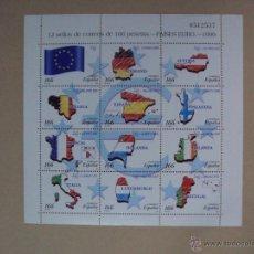 Sellos: ESPAÑA AÑO 1999 10 MINIPLIEGOS PAÍSES DEL EURO Nº EDIFIL 3632/43 PRECIO CATÁLOGO 310 €. Lote 101242522
