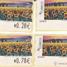 Sellos: ATM ESPAÑA SERIE EN EUROS 4 DIGITOS GIRASOLES. Lote 51443288