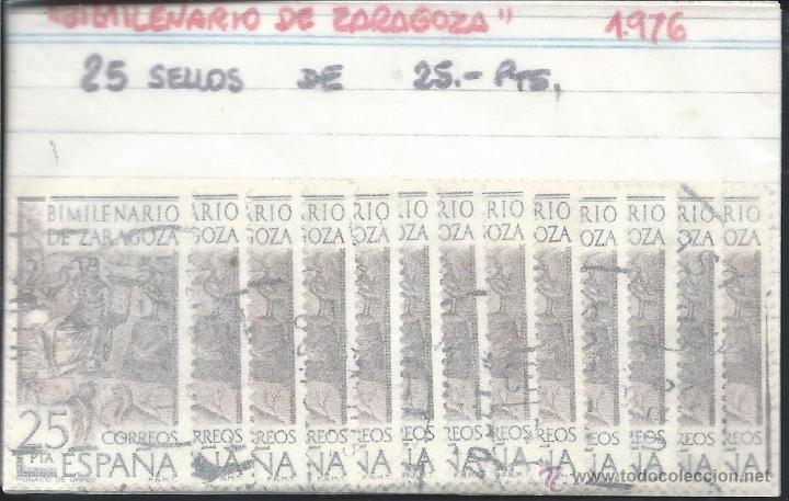 8512- 25 SELLOS DE 25,-PTS. 1976- BIMILENARIO DE ZARAGOZA (Sellos - España - Juan Carlos I - Desde 1.975 a 1.985 - Usados)