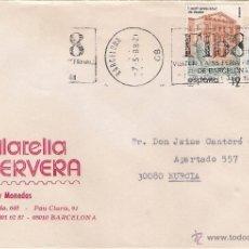 Sellos: FILATELIA HERVERA, BARCELONA . CARTA A MURCIA (7-5-88). Lote 52148460