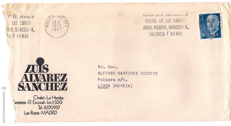 CARTA DE MADRID A LORCA, EL 18-1-1977 (Sellos - España - Juan Carlos I - Desde 1.975 a 1.985 - Cartas)