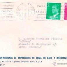 Sellos: EMPRESARIOS DE SALAS DE BAILE. MADRID . CARTA CERTIFICADA A LORCA,MURCIA EL 9-3-81. Lote 52331017