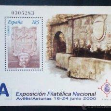 Sellos: ESPAÑA EXFILNA 2000 HOJA BLOQUE NUEVA CON SELLO. Lote 52346704