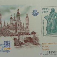Selos: HOJA BLOQUE SELLO EDIFIL 4422 - HB EXPO ZARAGOZA 2008 - MONUMENTO A GOYA Y BASILICA DEL PILAR NUEVO. Lote 52438726