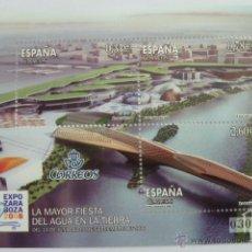 Selos: HOJA BLOQUE 3 SELLOS EXPO ZARAGOZA 2008 LA MAYOR FIESTA DEL AGUA EN LA TIERRA, NUEVO. Lote 52440032