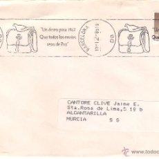 Sellos: CARTA DE BARCELONA A ALCANTARILLA,MURCIA EL 19-12-86. Lote 52572043