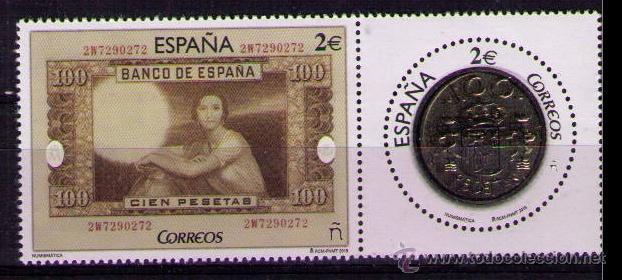 ESPAÑA 2015 - NUMISMATICA - BILLETE Y MONEDA DE 100 PESETAS - EDIFIL Nº 5010-5011** (Sellos - España - Juan Carlos I - Desde 2.000 - Nuevos)
