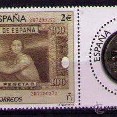 Sellos: ESPAÑA 2015 - NUMISMATICA - BILLETE Y MONEDA DE 100 PESETAS - EDIFIL Nº 5010-5011**. Lote 140204825