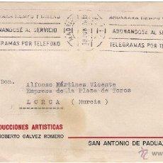 Sellos: GALVEZ PRODUCCIONES ARTÍSTICAS.CARTA DE MADRID A LORCA, EL 18-JUN-78. Lote 52673058
