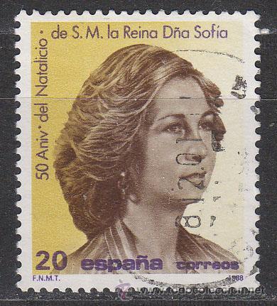 EDIFIL 2927, 50 ANIVERSARIO DE LOS REYES JUAN CARLOS I Y SOFIA, USADO (Sellos - España - Juan Carlos I - Desde 1.986 a 1.999 - Usados)