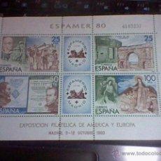 Sellos: EXPOSICION AMERICA Y EUROPA FILATELICA 80 OCTUBRE MADRID ESPAMER 80 4143257 HOJA BLOQUE . Lote 52762178