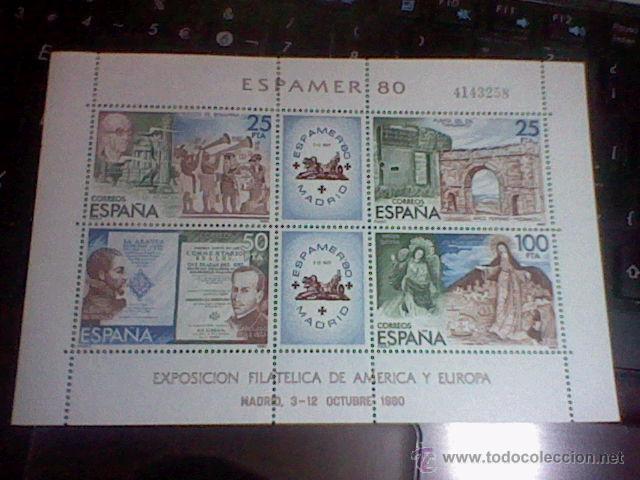 EXPOSICION AMERICA Y EUROPA FILATELICA 80 OCTUBRE MADRID ESPAMER 80 4143258 HOJA BLOQUE (Sellos - España - Juan Carlos I - Desde 1.975 a 1.985 - Nuevos)