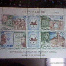 Sellos: EXPOSICION AMERICA Y EUROPA FILATELICA 80 OCTUBRE MADRID ESPAMER 80 4143258 HOJA BLOQUE . Lote 52762198