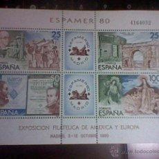 Sellos: EXPOSICION AMERICA Y EUROPA FILATELICA 80 OCTUBRE MADRID ESPAMER 80 4164032 HOJA BLOQUE . Lote 52762211
