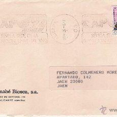 Sellos: EL MONAGUILLO.BERNABÉ BIOSCA,S.A. - CARTA DE ALICANTE A JAÉN, EL 31-3-87. Lote 52778088