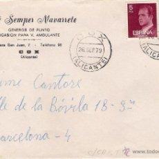 Sellos: JOSÉ SEMPER NAVARRETE.SOBRE CON CARTA DE COX, A BARCELONA, EL 26-9-79. Lote 52811025