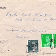 Sellos: CARTA CERTIFICADA DE CÓRDOBA A MADRID EL 27-8-81. Lote 52811185