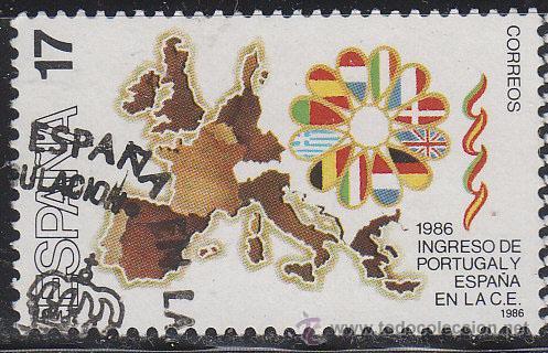 EDIFIL 2826, INGRESO ESPAÑA Y PORTUGAL EN LA COMUNIDAD EUROPEA, USADO (Sellos - España - Juan Carlos I - Desde 1.986 a 1.999 - Usados)