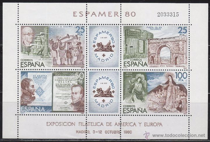 EDIFIL 2583, ESPAMER 1980, NUEVO *** EN HOJA BLOQUE (Sellos - España - Juan Carlos I - Desde 1.975 a 1.985 - Nuevos)