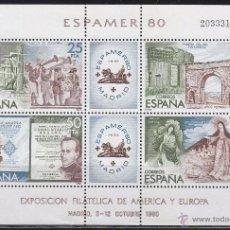 Sellos: EDIFIL 2583, ESPAMER 1980, NUEVO *** EN HOJA BLOQUE. Lote 177218278