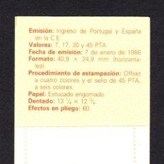 Sellos: ESPAÑA CARNET 2825** - AÑO 1986 - INGRESO DE ESPAÑA Y PORTUGAL EN LA COMUNIDAD EUROPEA. Lote 53364430