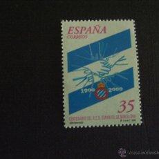 Sellos: ESPAÑA Nº EDIFIL 3705*** AÑO 2000. FUTBOL. CENTENARIO REAL CLUB DEPORTIVO ESPANYOL. Lote 214860437