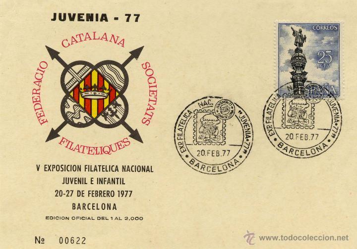 TARJETA JUVENIA 77 V EXPOSICIÓN FILATELICA NACIONAL BARCELONA 20 FEBRERO 1977 (Sellos - España - Juan Carlos I - Desde 1.975 a 1.985 - Cartas)