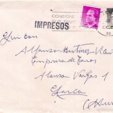 Sellos: TOROS: SOBRE CIRCULADO DE VALENCIA A LORCA. Lote 55093507