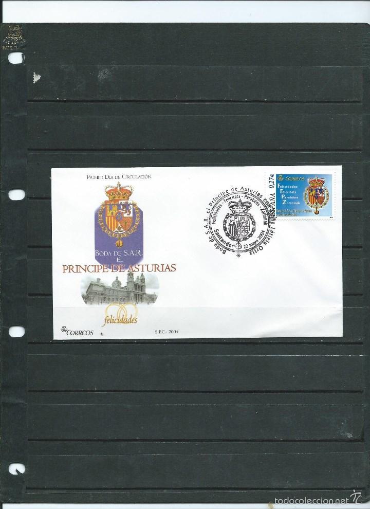 SOBRE CON MATASELLO ESPECIAL DE LA BODA DEL PRINCIPE DE ASTURIAS Y LETICIA DEL AÑO 2004 DE SANTANDER (Sellos - España - Juan Carlos I - Desde 2.000 - Cartas)
