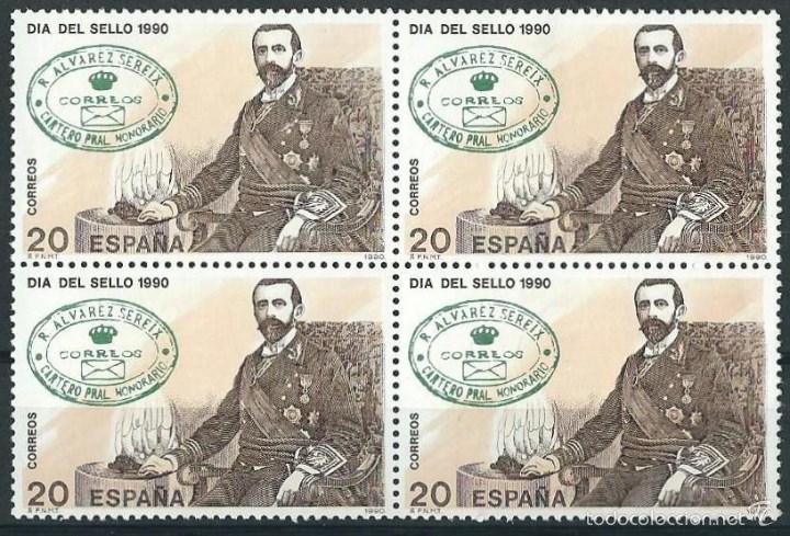 ESPAÑA 1990 EDIFIL 3057** DIA DEL SELLO EN BLOQUE DE 4 (Sellos - España - Juan Carlos I - Desde 1.986 a 1.999 - Nuevos)