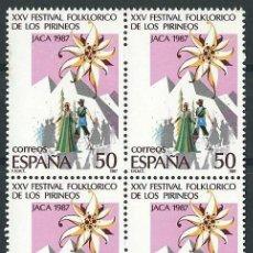Sellos: ESPAÑA1987 EDIFIL 2910** XXV FESTIVAL FOLKLORICO DE LOS PIRINEOS EN BLOQUE DE 4. Lote 56162698