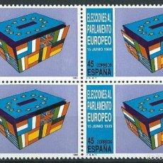 Sellos: ESPAÑA 1989 EDIFIL 3015** ELECCIONES AL PARLAMENTO EUROPEO EN BLOQUE DE 4. Lote 56173918