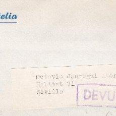 Sellos: SOBRE COMPLETO, EDIFIL 2391. ANULACIÓN SUPLENTE MATº ROMBO DE PUNTOS Y MARCA 'DEVUELTO'.. Lote 56397002