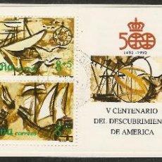 Sellos: 1990-ED.3079C-CARNÉ. V CENTENARIO-NAVIOS S. XVI-USADO-. Lote 93838907