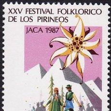 Sellos: EDIFIL 2910 XXV FESTIVAL FOLKLORICO DE LOS PIRINEOS-1987. Lote 56855451