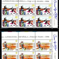 Sellos: SERIE 12V LITERATURA ESPAÑOLA'94 FIRMADA POR CAMILO JOSÉ CELA + SOBRE CERTIFICADO CON SU FRANQUICIA. Lote 57122291