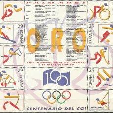 Sellos: ESPAÑA DEPORTES OLIMPICOS DE ORO HOJITA EDIFIL NUM. 3325/3334 ** NUEVA SIN FIJASELLOS. Lote 156551761