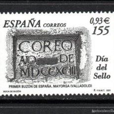 Sellos: ESPAÑA 3780** - AÑO 2001 - DIA DEL SELLO - BUZON DE CORREOS DE 1793, MAYORGA - VALLADOLID. Lote 112843591