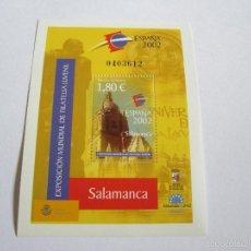 Sellos: ESPAÑA EDIFIL 3878 **HOJA BLOQUE EXPOSICIÓN MUNDIAL FILATELIA JUVENIL SALAMANCA 2002, NUEVA. Lote 58213648